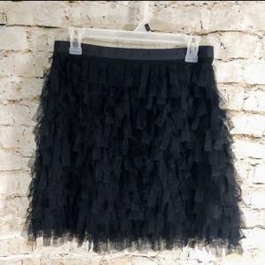 Loft Black Tulle Mini Skirt size 8